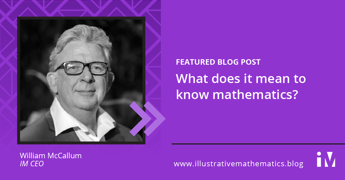 What does it mean to know mathematics?